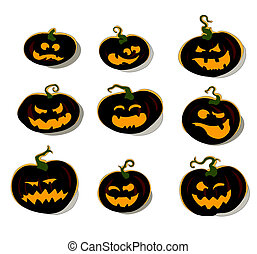 set of halloween pumpkins, this illustration may be useful...