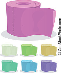 Toilet Paper Set - Illustration of a set of colored cartoon...