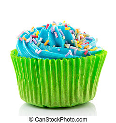 Blue and green cupcake