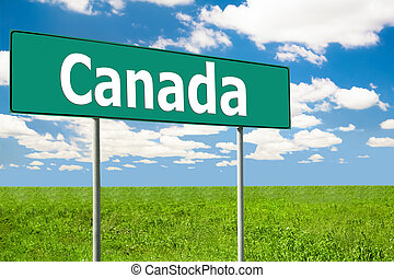 Road Sign. Blue Sky and Clouds - Canada Road Sign. Blue Sky...