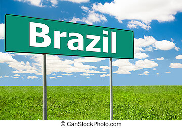 Road Sign Blue Sky and Clouds - Brazil Road Sign Blue Sky...