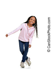 Happy young girl child dancing with white background
