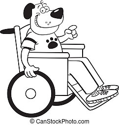 dog in a wheelchair - Black and white illustration of a dog...