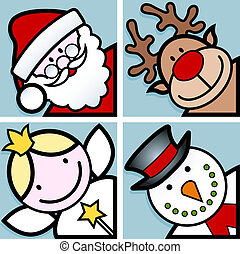 christmas characters - set of four happy christmas cartoon...
