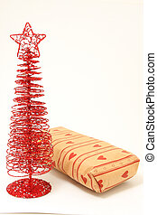 christmas tree present - Red decorative christmas tree and...