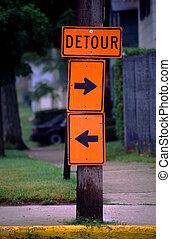 Take Your Pick Detour Sign - Ambivalent detour sign lets the...