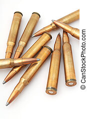 sniper bullets - pile of rifle bullets, big caliber 30-06,...