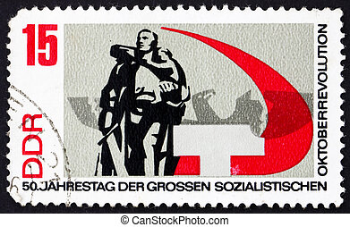 Postage stamp GDR 1967 Russian War Memorial Berlin-Treptow -...