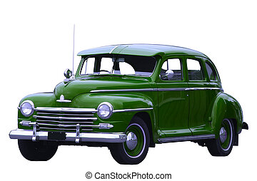 green classic car - photograph of an old classic green car...