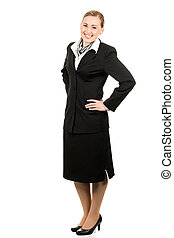 Happy young air hostess - Full length portrait of a happy...