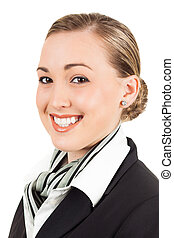 Happy young air hostess - Portrait of a happy young...