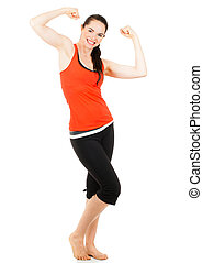Fit sporty woman flexing both arms - A fit beautiful sporty...