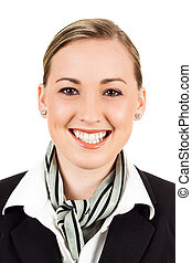 Friendly happy air hostess - Closeup portrait of a friendly...