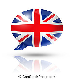 British flag speech bubble - three dimensional UK flag in a...