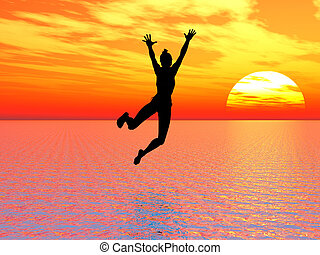 I believe I can fly - young woman jumps into the ocean a...