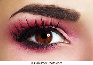 Red Eye Makeup. Beautiful eye makeup close up