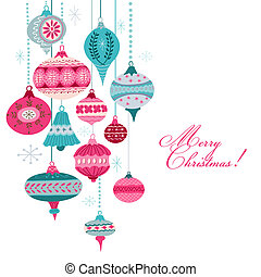 Vintage Christmas Background - with christmas tree balls -...