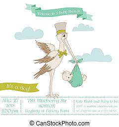 Baby Shower Card with Stork - with place for your text - in...