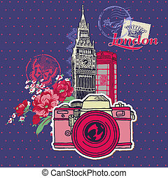Scrapbook Design Elements - London Vintage Card with Camera and Stamps - in vector