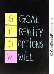 crecer, (goals, realidad, Opciones, will), -, vida,...