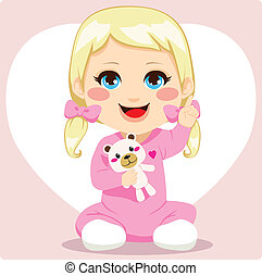 Smart Baby Girl - Cute smart little baby girl pointing index...