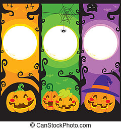 Halloween Pumpkin Banners - Three vertical banners with...