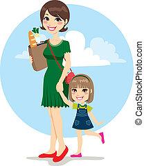 mère, fille, achats