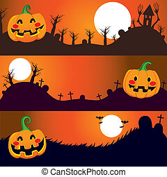Halloween Night Banners - Three horizontal Halloween banners...