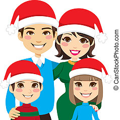 Santa Family Portrait - Portrait illustration of lovely...
