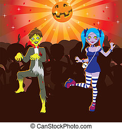Zombie Disco Halloween Party - Boy and Girl dancing in...