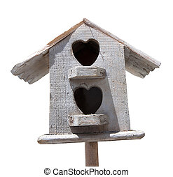 Wooden bird house on white background.