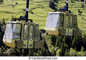 Two Teleferic of Monetier Les Bains, Grenoble, France
