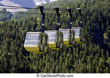 Yellow Teleferic of Monetier Les Bains, Grenoble, France.