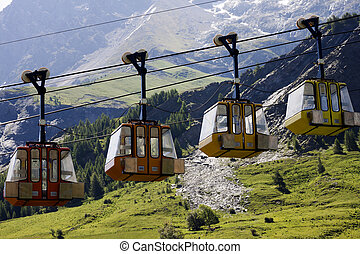 Closed up teleferics of Monetier Les Bains, Grenoble, France...