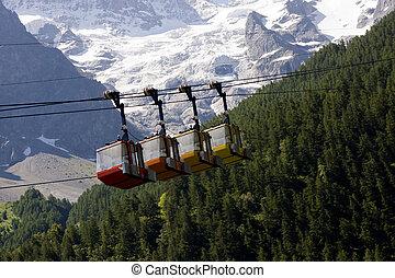 Teleferics of Monetier Les Bains, Grenoble, France.
