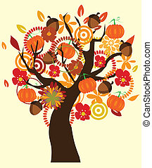 fall tree - vector fall tree with fall elements