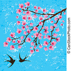floral card - vector floral card with swallows
