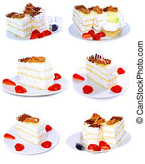 Various cakes with fruits, strawberrys Isolated -...