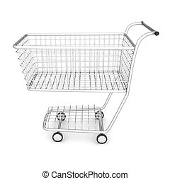 grocery cart on a white background isolated