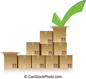 checkmark over a box graph illustration