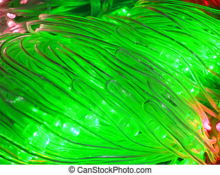 abstract green powerful illuminated tubes, power details -...