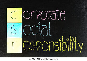 corporate social responsibility CSR concept on chalkboard...