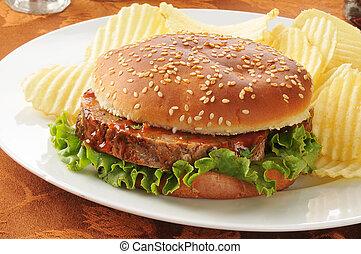 Meatloaf sandwich on a bun