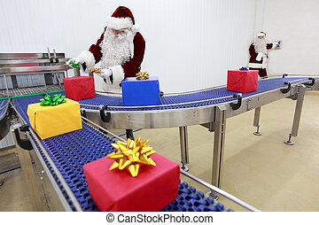 Santa Clauses in Gifts Factory