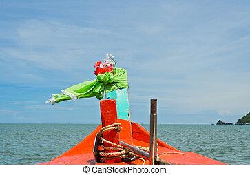 木製である, オレンジ, ボート, 航海