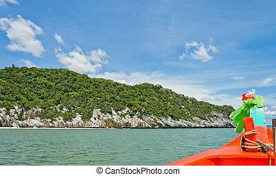 オレンジ, ボート, 航海