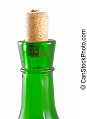 Wine with green bottle on the white background