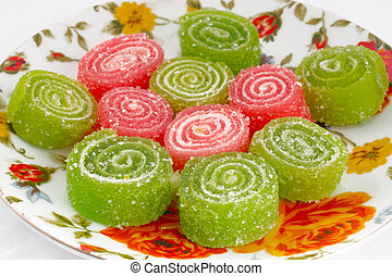 Colorful fruit sugary candies close-up