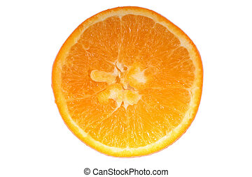 slice of orange isolated on white background, picture saved with clipping path
