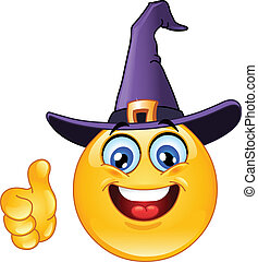 Emoticon with witch hat showing thumb up
